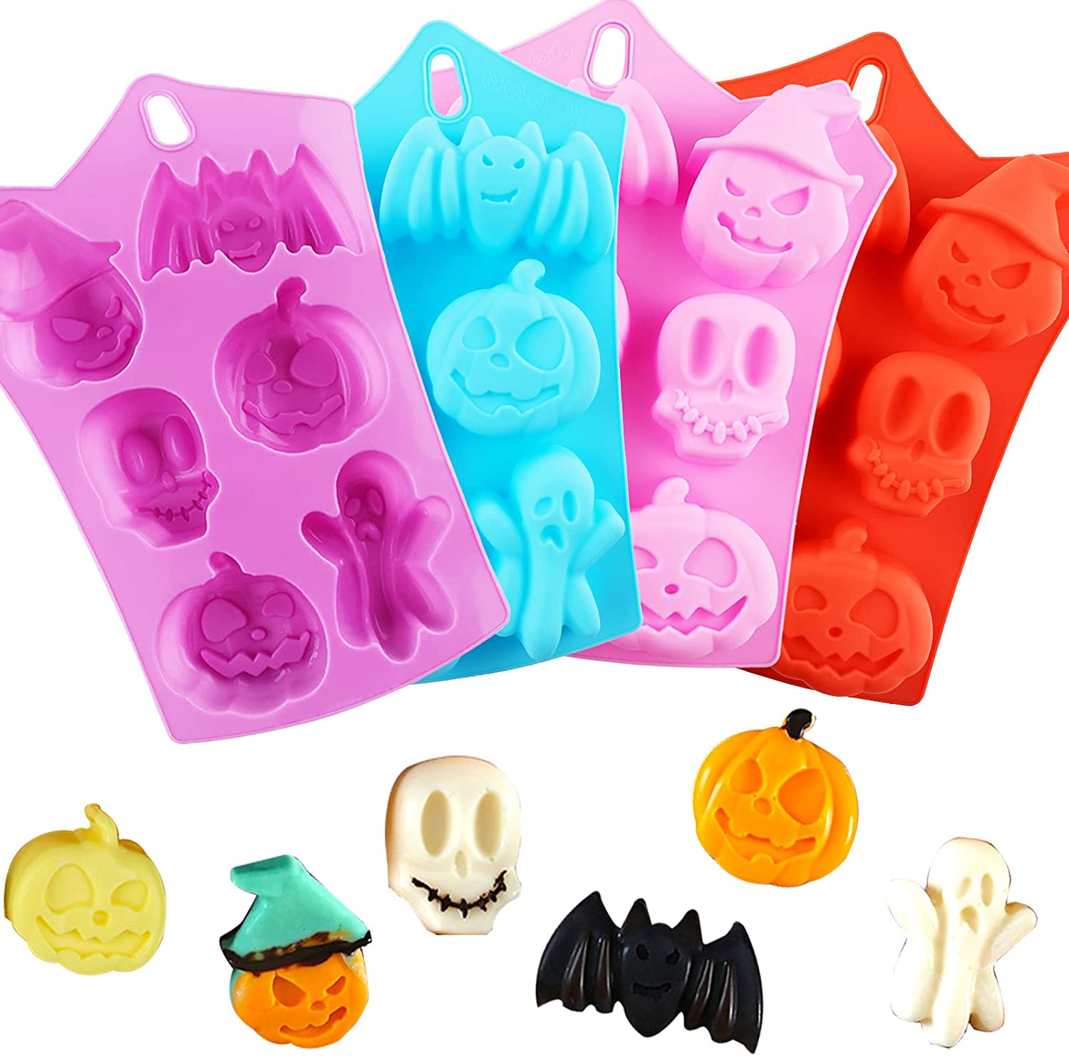 Pumpkin Silicone Mold Halloween Cake Mold 4 PIECE Chocolate Molds Silicone with Ghost Pumpkin Bat & Witch Hat Cookie Molds for Candy Gummy Jello Ice Cube Crayon Melt Biscuits,Soap Pumpkin Baking Mold