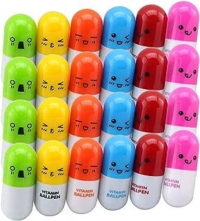 Jiulyning 24Pcs Retractable Pill Shape Ballpoint Pen, Cute Emotion, Smiling Face, Cartoon Ball Pen