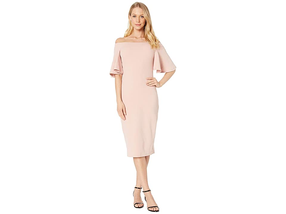Bebe Off Shoulder Bell Sleeve Dress (Blush) Women