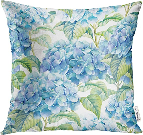 Vanmi Throw Pillow Cover Floral Hydrangea Watercolor Of Blue Flower Vintage Beautiful Decorative Pillow Case Home Decor Square 20x20 Inches Pillowcase Home Kitchen Amazon Com