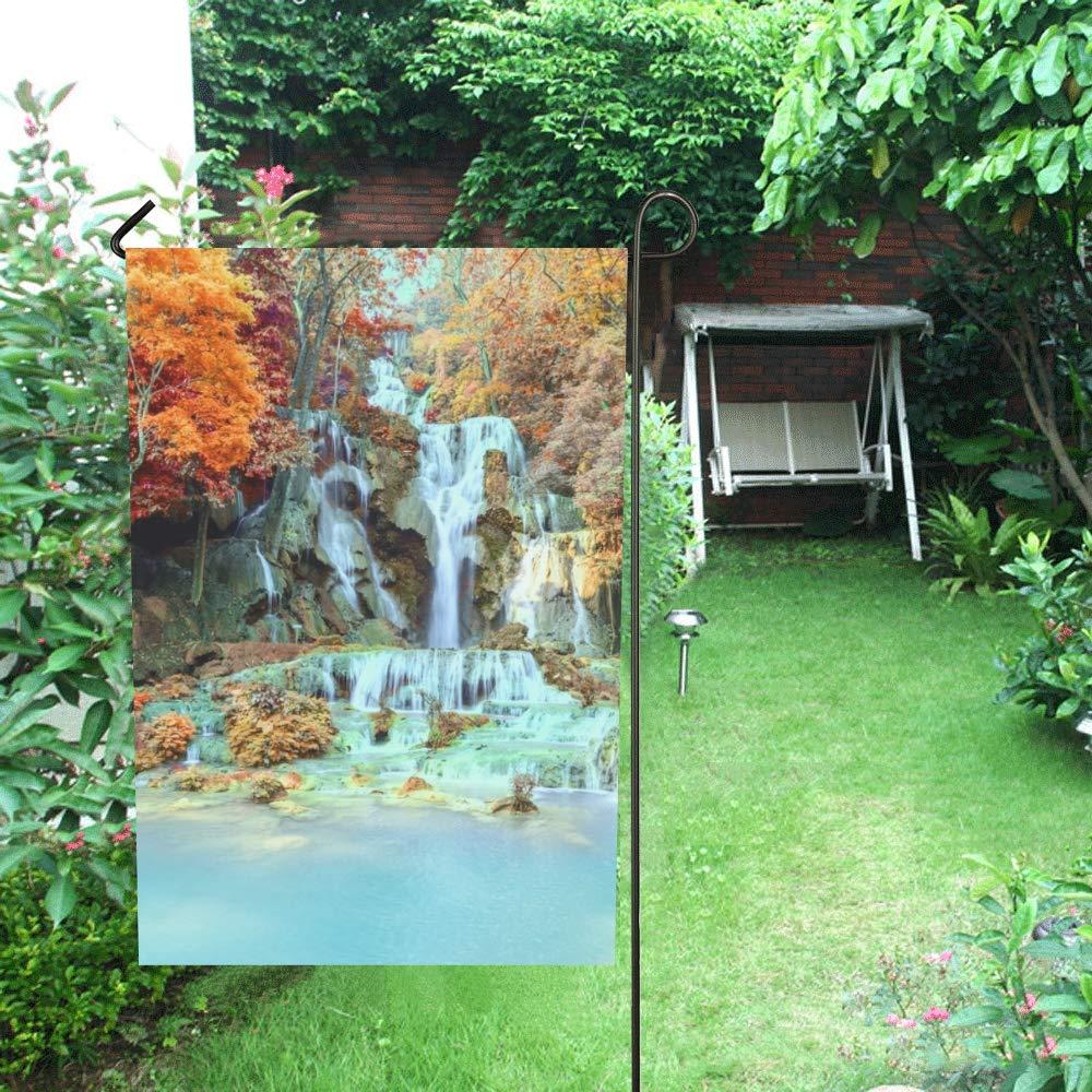 Cascada decorativa al aire libre Cascada de selva tropical de doble cara Cascada Tat Kuang Si Bandera de jardín, Bandera de patio de casa, Decoraciones de jardín, Bandera de bienvenida al aire