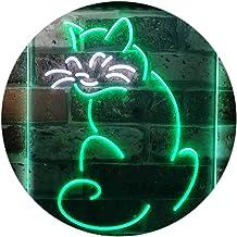 Cat Kitten Lover Pet Shop Grooming Night Light Dual Color LED Neon Sign White & Green 400 x 600mm st6s46-i3186-wg