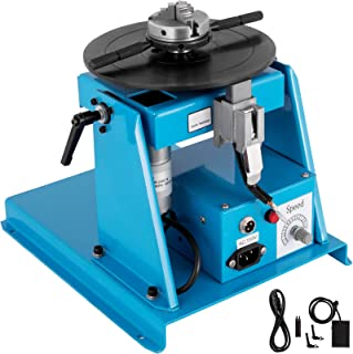 Mophorn 10KG Rotary Welding Positioner Turntable Table 110V Mini 0 to 90ºWelding Positioner Positioning Turntable 2.5 Inch 3 Jaw Lathe Chuck 180mm Portable Welder Positioner Turntable Machine