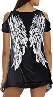 Tulucky Womens Fashion Angel Wing Loose T Shirts Cutout Shoulder Irregular Tops