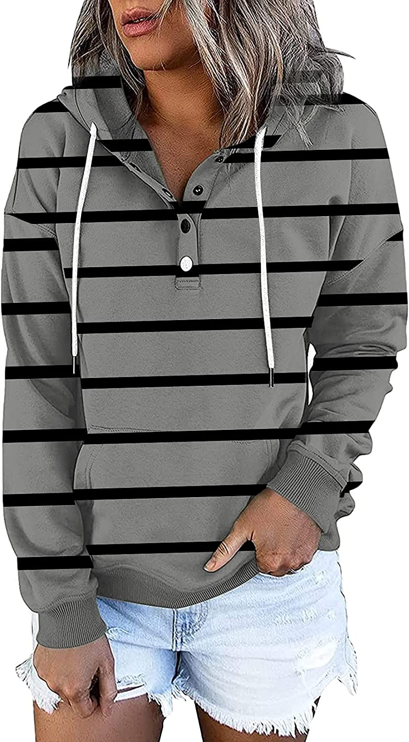 Women's Stripe Print Hooded Shirts Loose Fashion Long Sleeve Buttons V Neck Sweatshirt Casual Blouse Pullover Tops