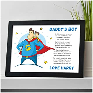 PERSONALISED Dad, Daddy, Grandad Gifts for Birthday, Fathers Day, Christmas Gifts from Son - Custom Gifts from Son, Little Boy, Daddy's Boy - DAD, DADDY, GRANDAD Keepsake Print Gifts for Him