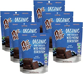 Nib Mor Organic Dark Chocolate Snacking Bites with 72% Cacao - Wild Maine Blueberry, 3.26 Ounce (Pack of 6)