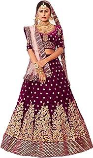 Wine Indian Pure Velvet Bridal Women's Golden Cording & Sequin Wedding Lehenga Choli Dupatta 6308
