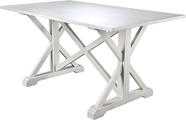 Cardwell Rectangular Dining Table Farmhouse Style W Distressed White Wood Grain Chic Design