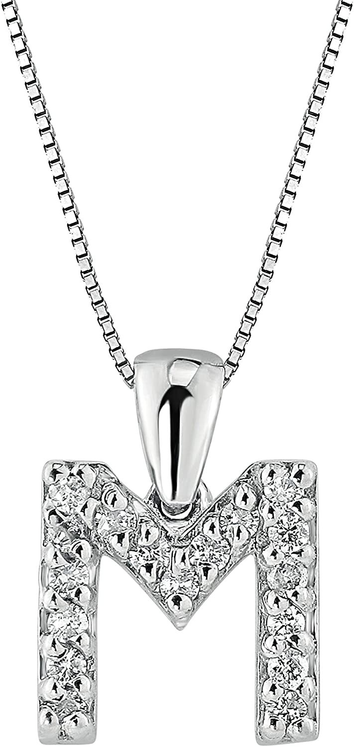 14k White Gold A to Z Diamond Initial Pendant Necklace (1/10cttw) with 18-inch chain by Diamond Wish