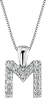14k White Gold Diamond Initial Pendant Necklace (1/10cttw) with 18-inch Chain