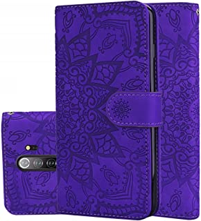 Good For Xiaomi Redmi Note 8 Pro Calf Pattern Mandala Double Folding Design Embossed Leather Case with Wallet & Holder & Card Slots(Black) FatW (Color : Purple)