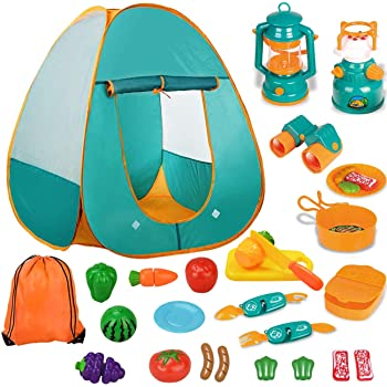 キッズテント キャンプテント 子供用テント おもちゃ 男の子 女の子 知育玩具 おままごと キャンプセット 折りたたみ式 コンパクト 室外・室内遊具 収納バッグ付き