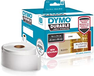 """DYMO LW Durable Industrial Labels for LabelWriter Label Printers, White Poly, 1"""" x 3-1/2"""", 2 Rolls of 350 (1933081)"""
