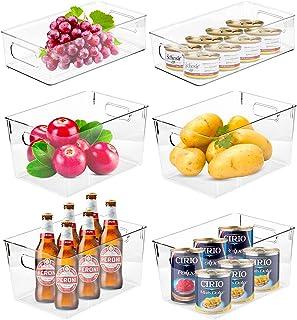 Wuudi Bac Rangement Frigo Lot de 6 Boîte de Rangement à Poignée en Plastique Transparent Idéal pour Cuisine Placard Réfrig...