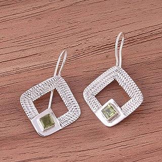 Pendientes de plata de ley para regalo de verano, pendientes de sol, pendientes de peridoto cuadrados, pendientes colgantes Plata Aretes, Sterling Silver Earrings for Women