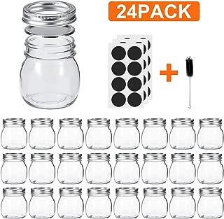 Glotoch Mason Jars 10 OZ With Regular Lids and Bands, Ideal for Jam, Honey, Wedding Favors, Shower Favors, Baby Foods, DIY Magnetic Spice Jars, 24 PACK, Included 24 Chalkboard Labels and1 brush