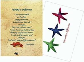 Starfish Story Poem Making a Difference Inspirational/Prayer Greeting Cards - 25 Laminated Cards