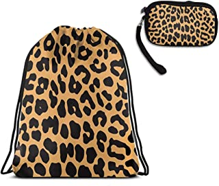 Men & Women School Travel Drawstring Sack, Cool Animal Leopard Print Shoulder Backpack, Water Resistant, Home Travel Storage Use + Luxury Clutch Travel Purse