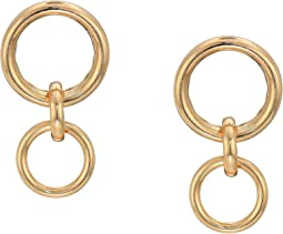 Three Circle Interlocking Front Hoop Earrings