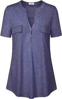 Ca Kra Women's Short Sleeve Zip Front V-Neck Work Casual Blouse Top Plaid Shirt