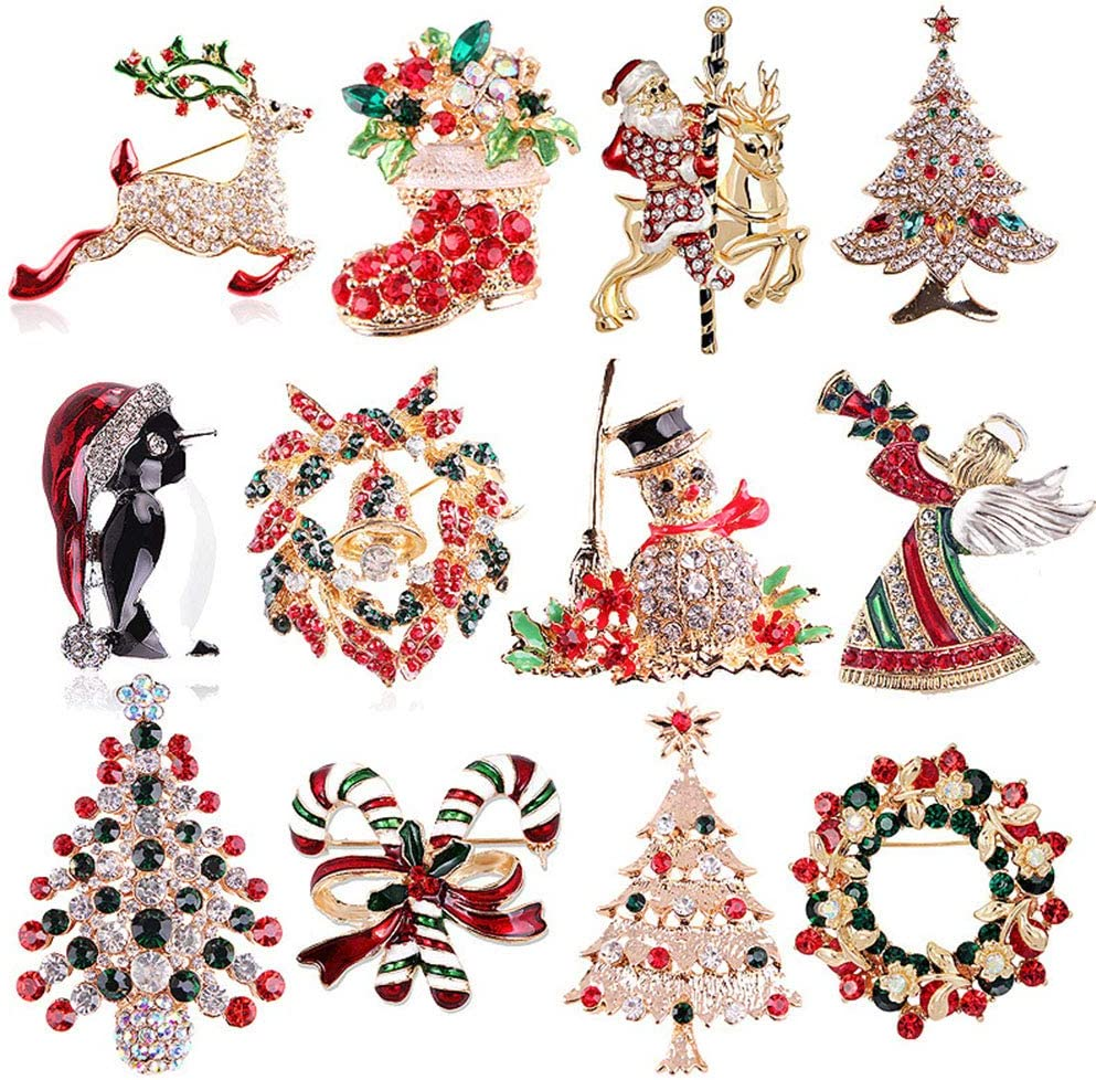 J.Memi's Brooches Rhinestone Fashion Zircon Jewellery Set Gifts for Christmas Anniversary Accessories Decoration, 12 Pieces
