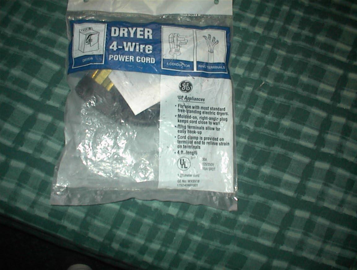 Ge WX9X18 Dryer 4-Wire Power Cord, 30-amp Genuine Original Equip
