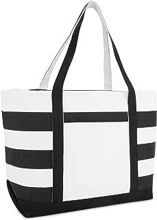 Striped Boat Bag Premium Cotton Canvas Tote in Black
