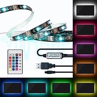 LED Strip Light Kit, 6.56FT RGB Flexible 60 LEDs Multi Color USB TV Backlight with IR Controller 24Keys Remote for in 40-60 HDTV, Computer, Background Lighting