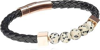 Stylish Leather and Rose Gold Charm Dalmatine Jasper Unisex Bracelet…