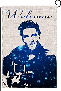 Wlilycoco Handsome Man Welcome Small Garden Flag Vertical Double Sided 12.5 x 18 Inch Farmhouse Summer Burlap Yard Outdoor Decor