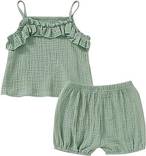 GRNSHTS Baby Girl Linen Summer Shorts Set Infant Sling Ruffle Tank Top Solid Color Short Pants 2Pcs Outfits