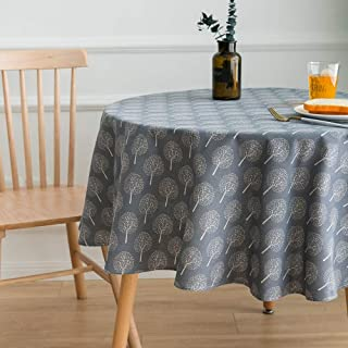 Lahome Rustic Tree Pattern Round Tablecloth - Cotton Linen Washable Table Cover Kitchen Dining Room Restaurant Party Decoration (Dark Grey, Round - 60