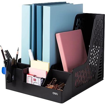 Deli Magazine File Book Holder Desktop Organizer Vertical Folder with Pencil Holder and Storage Baskets for Desk Accessories, 3 Compartments, Black