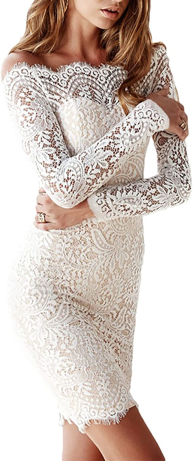 Beauty Decor women Bodycon Offshoulder Long Sleeve Lace Dress