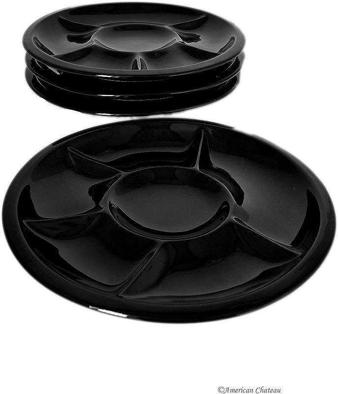 Set Of 12 Divided Black Porcelain Fondue Sushi Buffet Plates