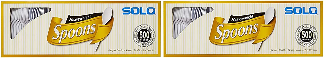 Solo White Heavyweight Spoons, 2 Pack (500 Spoons)