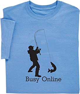 ComputerGear Funny Fishing T Shirt Busy Online Puns Retirement Adult Tee