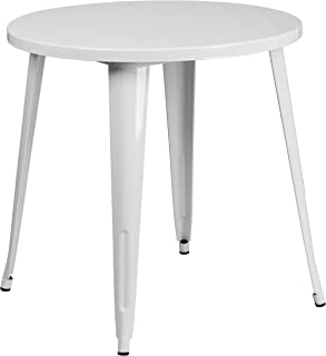 Flash Furniture 30'' Round White Metal Indoor-Outdoor Table -