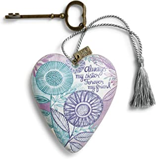 DEMDACO Always My Sister Forever My Forever Purple Turquoise Dandelion Floral 4 x 3 Inch Heart Shaped Resin Keepsake Art Hearts Decoration with Key and Tassel