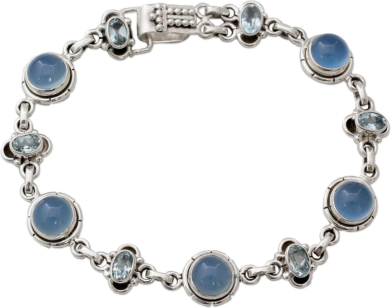 NOVICA Multi-Gem Chalcedony .925 Sterling Silver Link Bracelet,