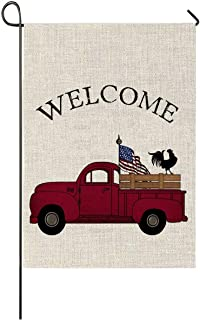 Auomily Patriotic Truck Garden Flag Vertical Double Sided Welcome Farmhouse Vintage Red Truck with Rooster Burlap Garden Yard Banner Lawn Outdoor Decoration 12.5 x 18 Inch (America Flag Truck)