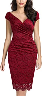 Miusol Women's Deep-V Neck Floral Lace Cocktail Party Dress