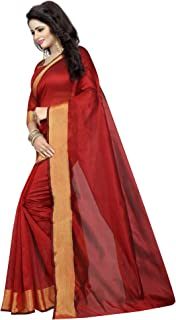 ETHNICMODE India Women's Cotton Silk Style Saree with Blouse Piece (Multi-Color_Free_Size) Monika RED NS