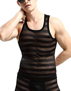 Hellove Mens See Through Tank Top Workout Gym Sleeveless Shirts