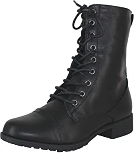 Forever Link Link Womens Round Toe Military Lace up Knit Ankle Cuff Low Heel Combat Boots