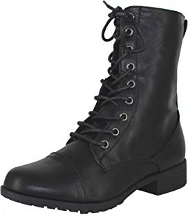 Forever Link Womens Round Toe Military Lace up Knit Ankle...