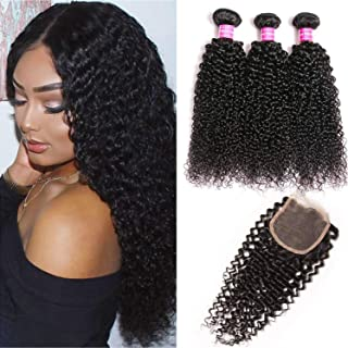 QinMei 10A Brazilian Virgin Curly Hair 3 Bundles With Closure (10 12 14+10) Free Part 100% Unprocessed Brazilian Kinky Jerry Curly 4x4 Lace Closure With Human Hair Bundles Curly Hair Extensions
