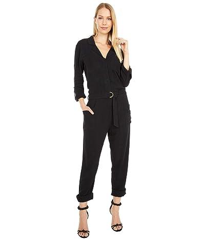 bobi Los Angeles Black Label 3/4 Sleeve Pocket Utility Jumpsuit in Indio Linen (Black) Women