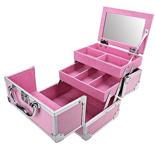 Makeup Cases Pink, Mini Portable Extendable Makeup Train Case Aluminum Cosmetic Box + Mirror +